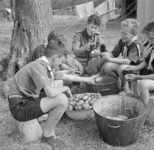 Boy_Scouts_scrub_potatoes_ready_for_the_evening_meal_at_a_fruit-picking_camp_near_Cambridge_in_1943._D16200